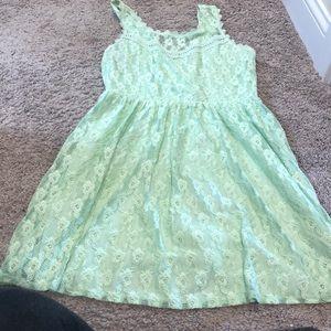 Mint color back lace up dress